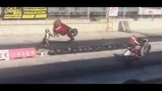 konya moto drag yarışlarında talihsiz kaza