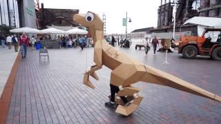 Kitrex: Googly-eyed Industrial Origami Laser Cut Velociraptor Costume #lvmmf