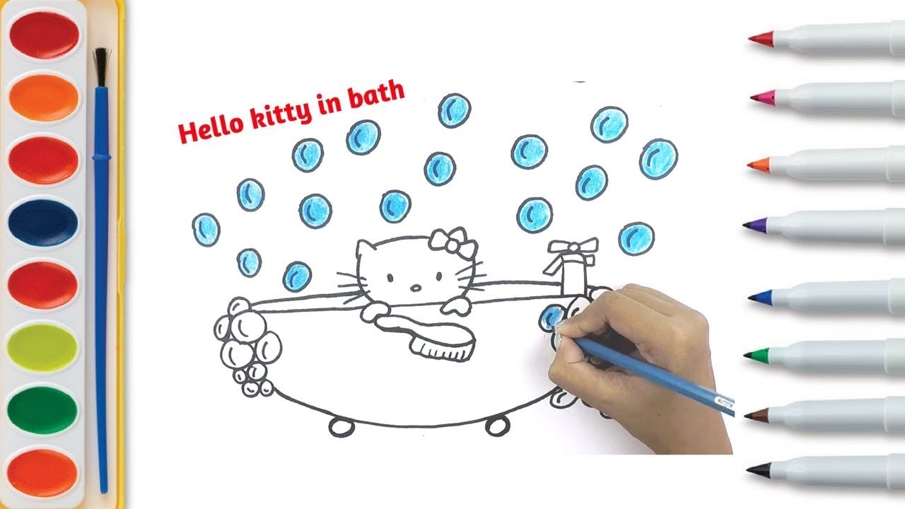 Hello Kitty Coloring Pages Bath Time Bath Coloring Page How To