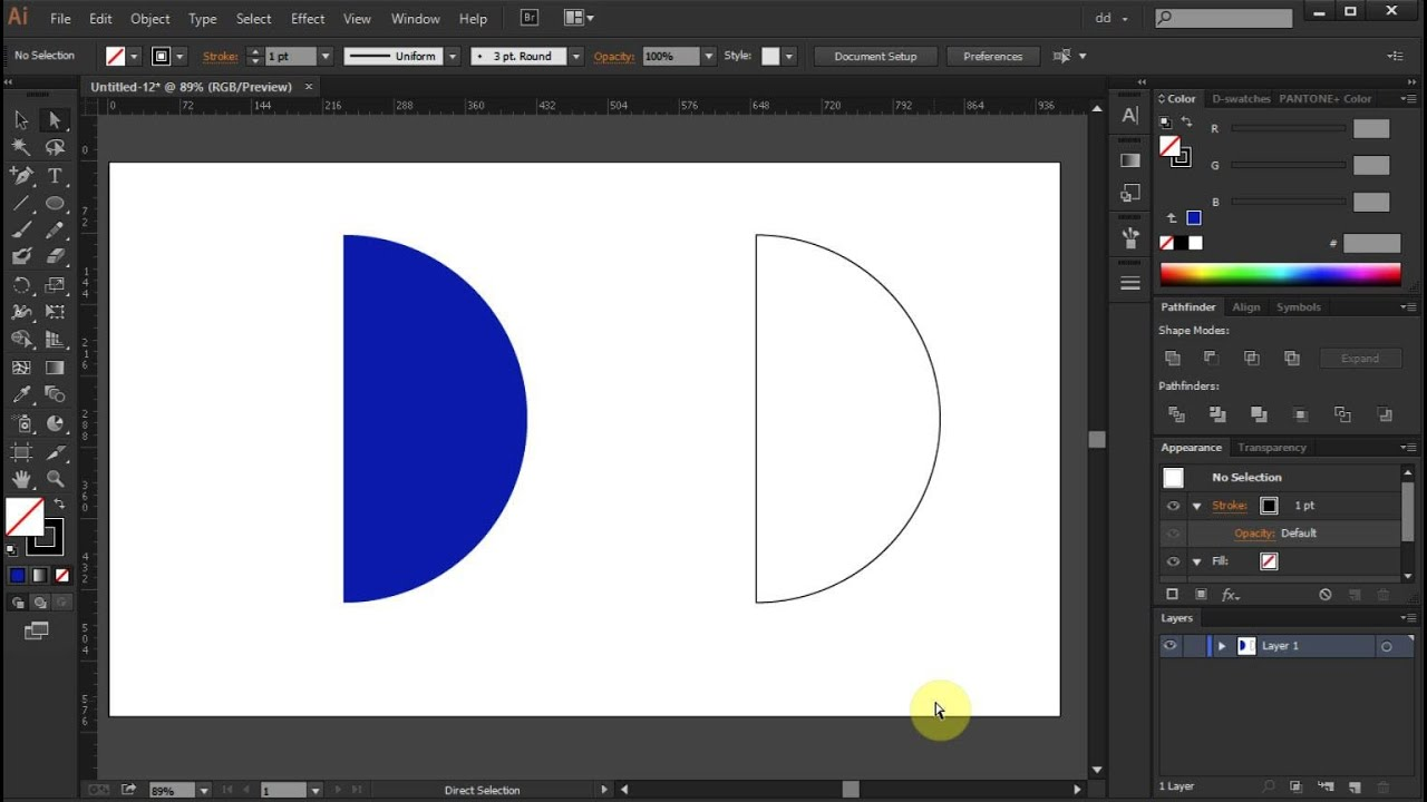 How to draw a half circle in adobe illustrator youtube how to draw a half circle in adobe illustrator ccuart Images