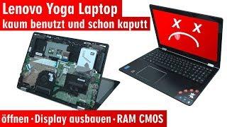 Lenovo Yoga kaum benutzt schon kaputt - Notebook öffnen Akku RAM CMOS Display wechseln - [4K]