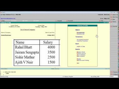 Tally 90 Salary Payment under cost centre