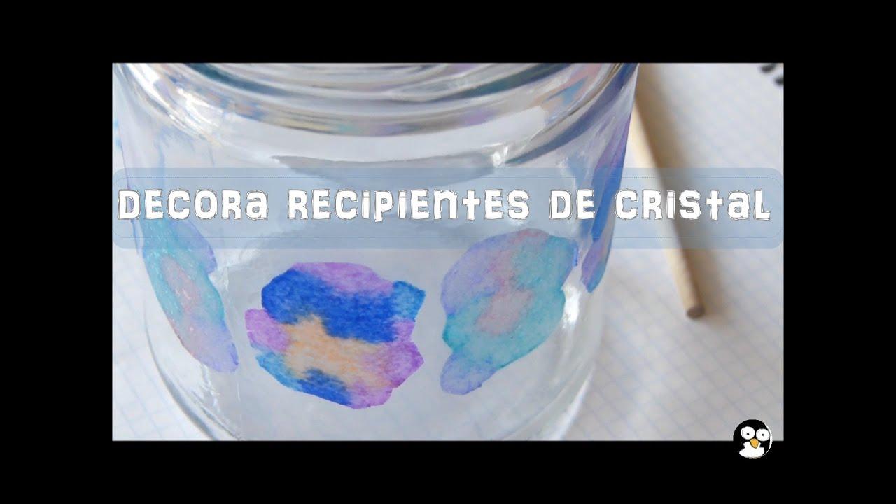 decora recipientes de cristal con pauelos de papel o servilletas manualidad fcil para nios