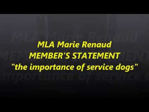 "Alberta MLA Marie Renaud ""the importance of service dogs"""
