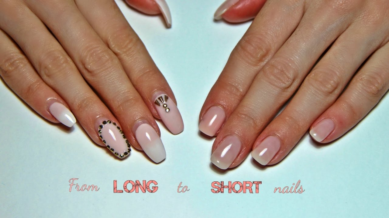 From Long to Short Gel Nails! Old design removal, drill and hand ...