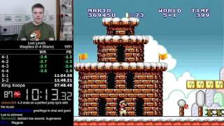 (22:17 / 37:17) Super Mario Bros.: The Lost Levels Warpless 8-4 (World record) / D-4 (Personal best)