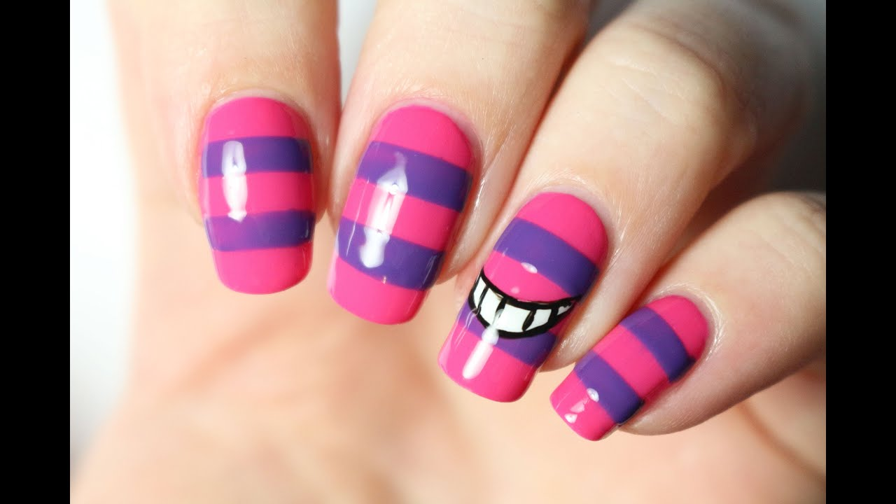 Nail art Disney : le chat du Cheshire (Alice in Wonderland) - YouTube