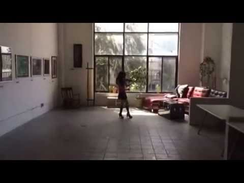 Playing violin in a cool loft!
