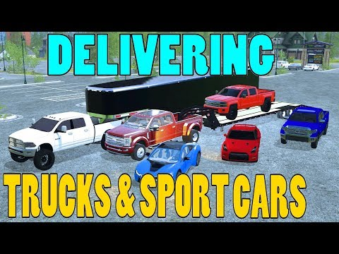 Farming Simulator 17 - Delivering Trucks & Sport Cars | Lifted Ram | 2017 Ford
