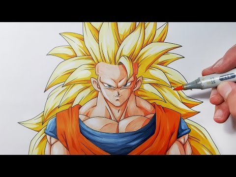 How To Draw Goku Super Saiyan 3  - Step By Step Tutorial!