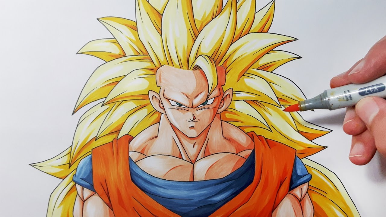 How To Draw Goku Super Saiyan 3 Step By Step Tutorial Youtube