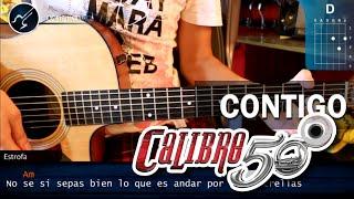 Como tocar Contigo CALIBRE 50 en Guitarra Acustica (HD) Tutorial COMPLETO