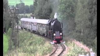 Ty2-911 z pociągiem retro relacji Chabówka - Dobra na łukach w Kasinie Wielkiej (4xGwizd)