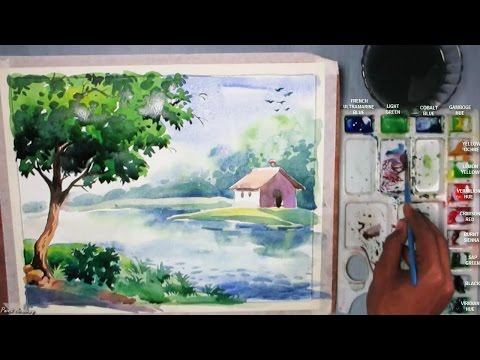 Beginners Watercolor : How to Draw A House Landscape | Episode-3