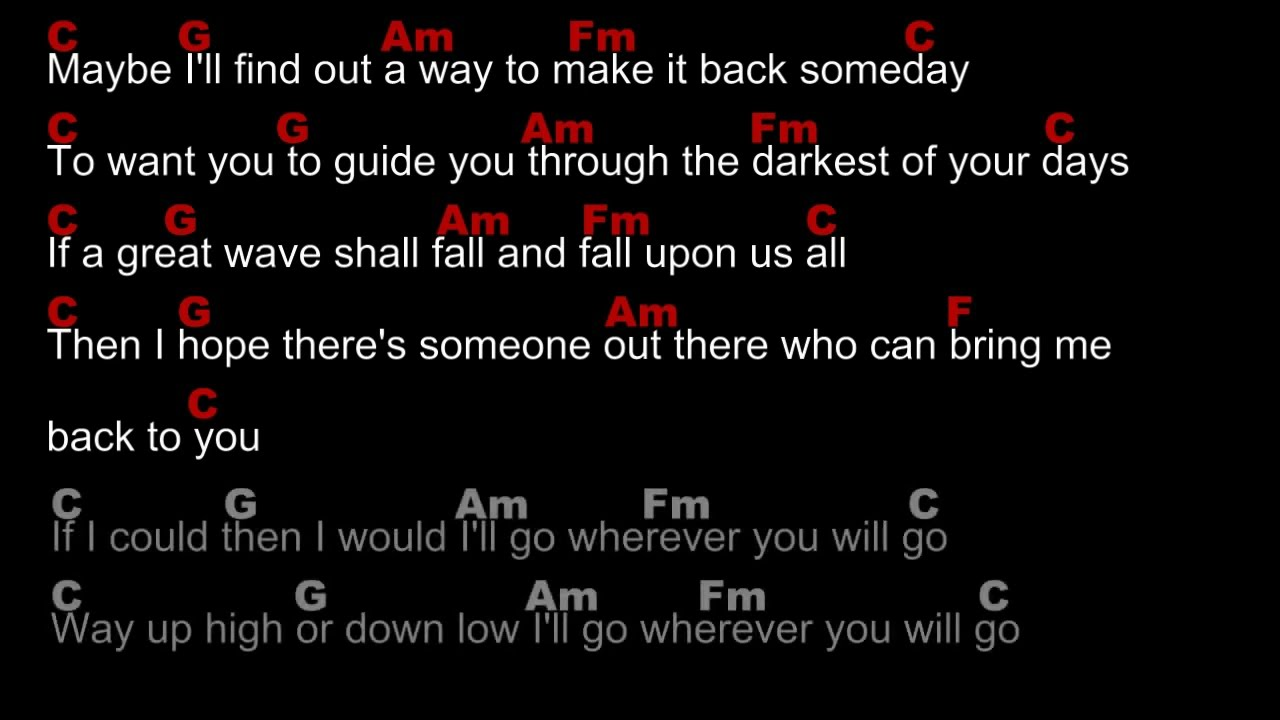 Wherever You Will Go By The Calling Lyrics Plus Chords Youtube