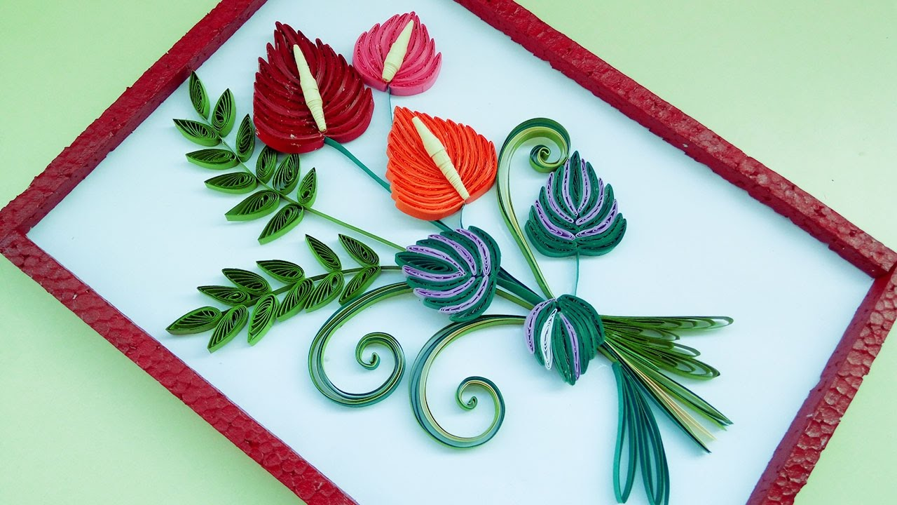 quilling greeting cards and wall designs by using falmingo flowers rh youtube com paper quilling wall designs quilling wall decoration designs
