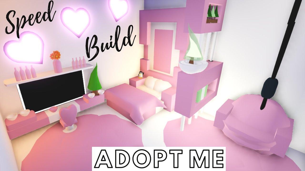Adopt Me Speed Build Adopt Me Pink Bedroom Adopt Me Building Hacks Youtube