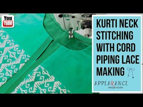 kurti neck stitching with cord piping Lace making