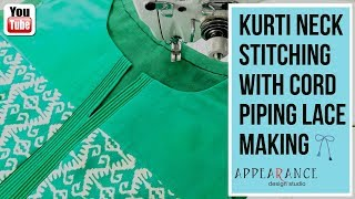 kurti neck stitching with cord piping Lace making