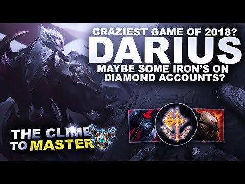 CRAZIEST GAME OF 2018 ON DARIUS! - Climb to Master | League of Legends thumbnail