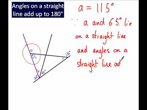Angles on a straight line add up to 180°