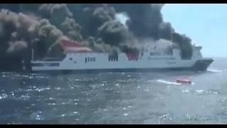 Barco Trasmediterránea Acciona en llamas