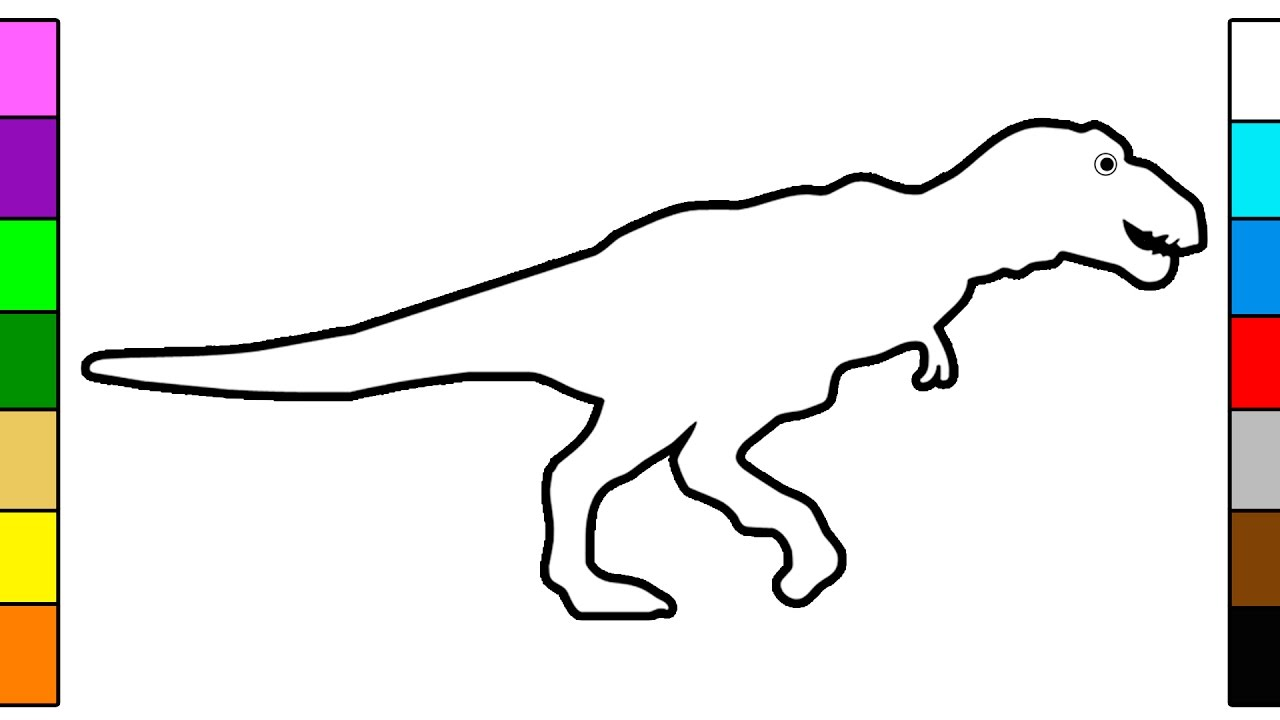 Learn Colors for Kids with Dinosaur T Rex Coloring Pages YouTube
