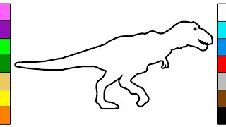 Learn Colors for Kids with Dinosaur T Rex Coloring Pages