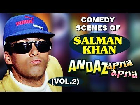 Salman Khan Best Comedy Scenes -  Bollywood Movie Andaz Apna Apna - Jukebox 2