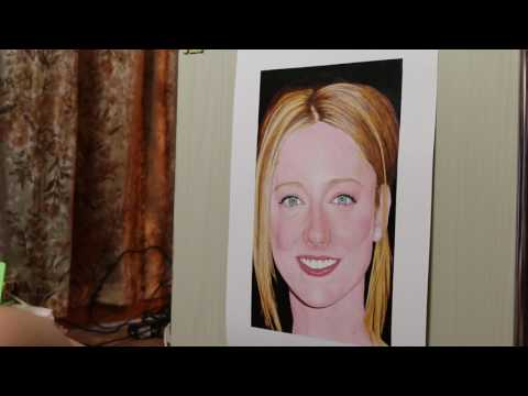 Painting of Judy Greer (work in process 21)