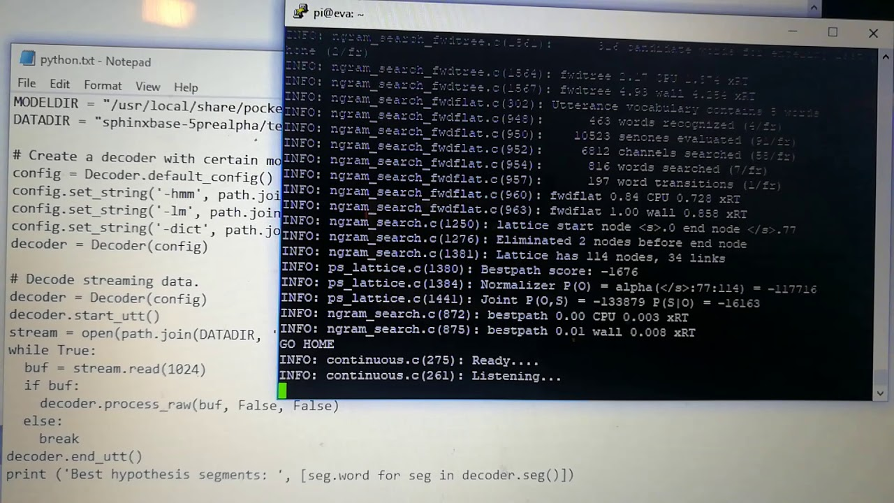 Python Speech Recognition PocketSphinx and Raspberry Pi