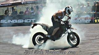 ZERO ELECTRIC MOTORCYCLE STUNTS - WHEELIE, STOPPIE & BURNOUTS! ELECTRIC DIRTBIKE STUNTING