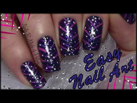 easy stripy nail art design with glitter  dots for