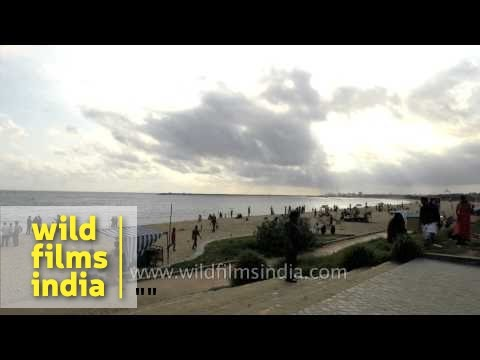 Tourists at Kollam Beach in Kerala