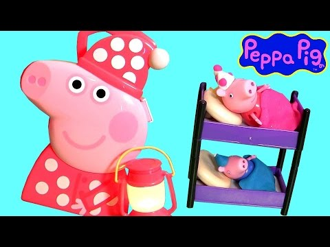 Peppa Pig Bedtime Case Toy Play Doh SLEEPOVER Party - Cookin