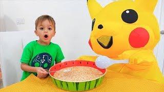Vlad e Nikita crianças rotina rotina de manhã com brinquedo enorme