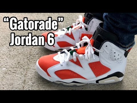 "e8cf30dd22ac47 Air Jordan 6 ""Gatorade"" on feet - YouTube"