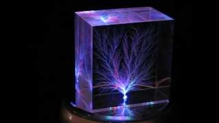 3 x 3 x 2 Inch Captured Lightning Prism (3D Lichtenberg Figure)