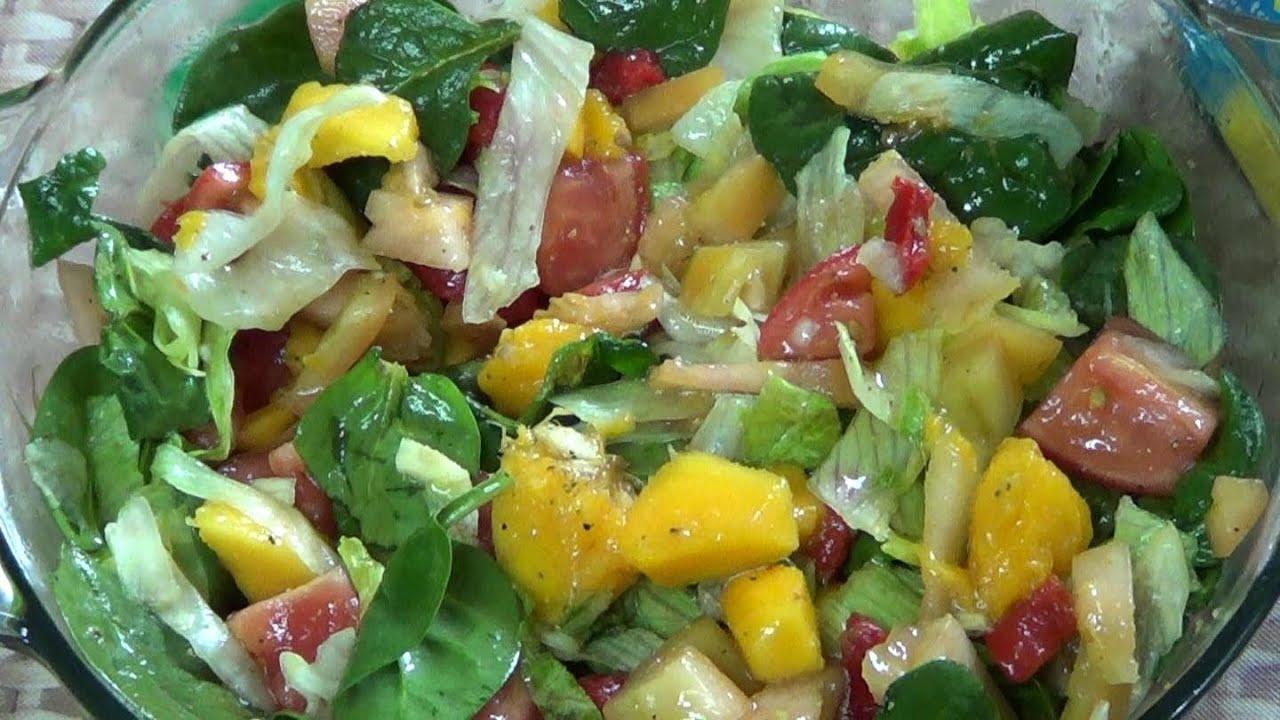 Receta de pollo con mango y lechuga