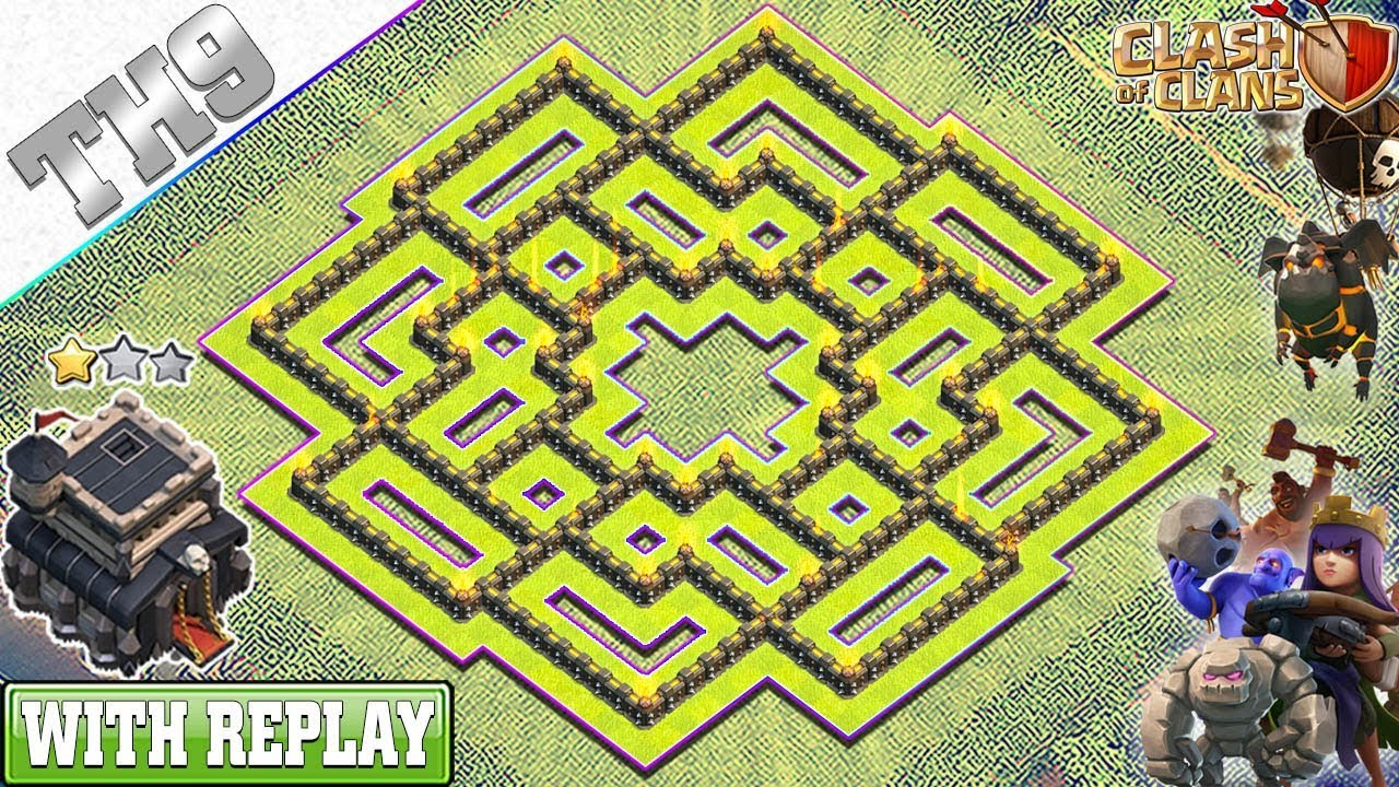NEW BEST TH9 Base 2019 with REPLAY | Anti 3/2 Star TH9 Trophy Base with Copy Link - Clash of Clans