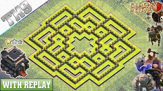Download lagu NEW BEST TH9 Base 2019 with REPLAY Anti 3 2 Star TH9 Trophy Base with Copy Link Clash of Clans MP3