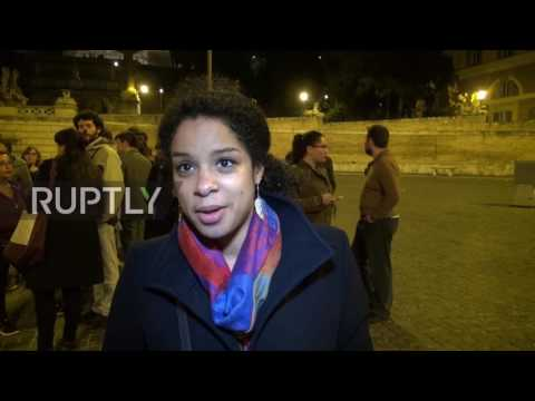 Italy: Young European Federalists celebrate Treaty of Rome anniv. outside Colosseum