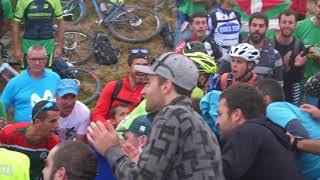 Óscar Rodríguez en las últimas rampas del Monte Oiz (Vuelta a España 2018, etapa 17)