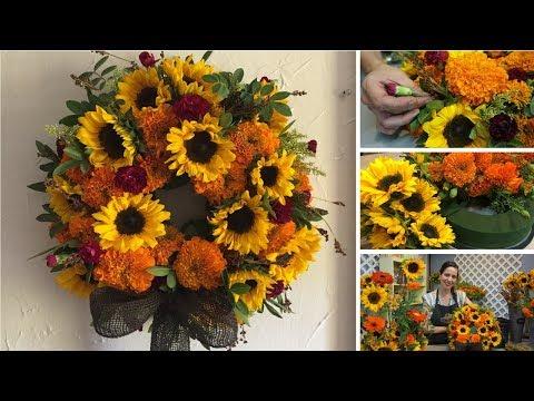 Ideas Para Decorar En Otoño Corona Con Flores Naturales