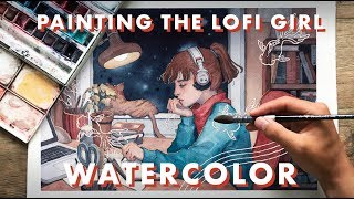 Painting the Lofi Hip Hop Radio Girl with Watercolor