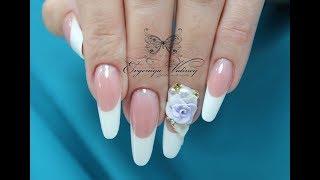 Урок дизайна ногтей/Урок по лепке на ногтях с жемчугом/акриловая лепка на ногтях