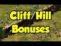 What effect do cliffs have on attack and range (+ other hill/cliff questions)