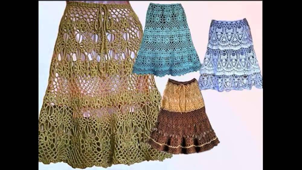 Вязание берсановой крючком юбка