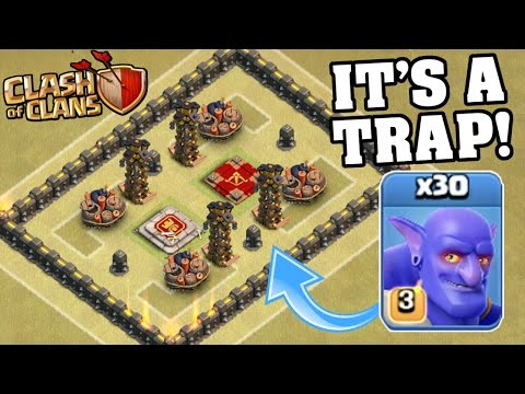30 MAX BOWLER TROLL WAR!! IT'S A TRAP!! Clash Of Clans Insane Gameplay 2016!
