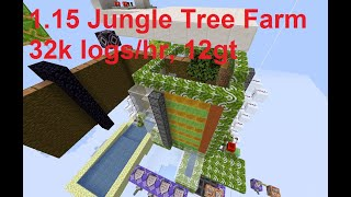 Minecraft 1.15 Fast Jungle Tree Farm (32k logs/hr, 12gt) using honey/slime block leaf crushers